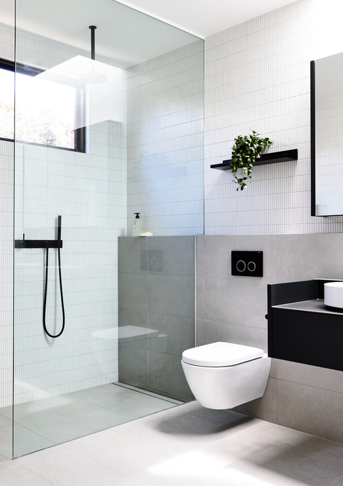 coastal bathroom with matte black accents