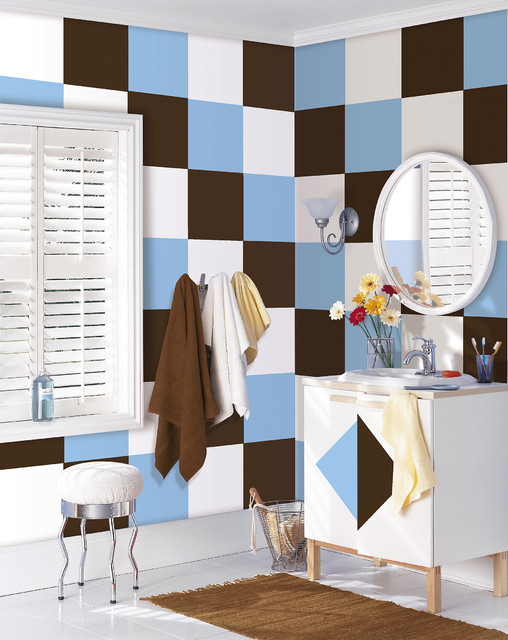 Blue and Brown Bathroom by WallPops Available in Dots, Blox and Stripes bathroom