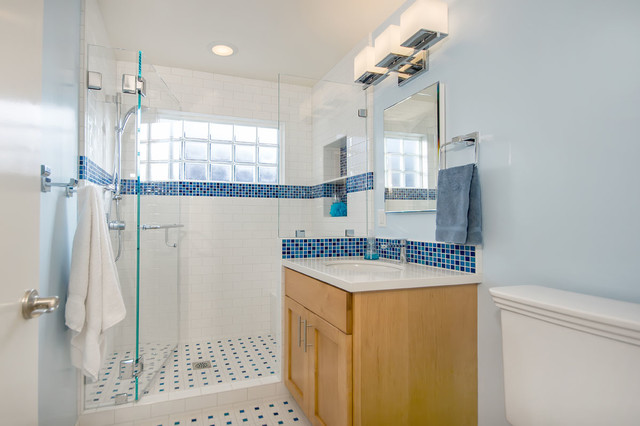 Blue And White Bathroom With Glass Block Traditional