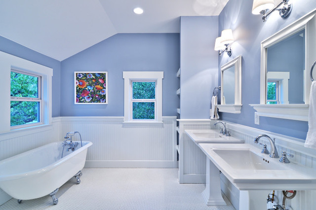 Blue And White Master Bath, Cottage Style Arts And Crafts Bathroom
