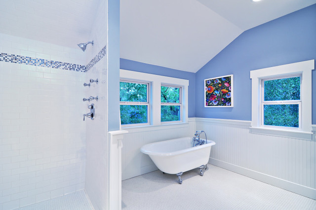 Great Blue And White Master Bath, Cottage Style Craftsman Bathroom