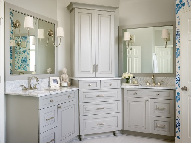 Blue and white modern bedroom and bathroom renovation Bathroom design centers atlanta
