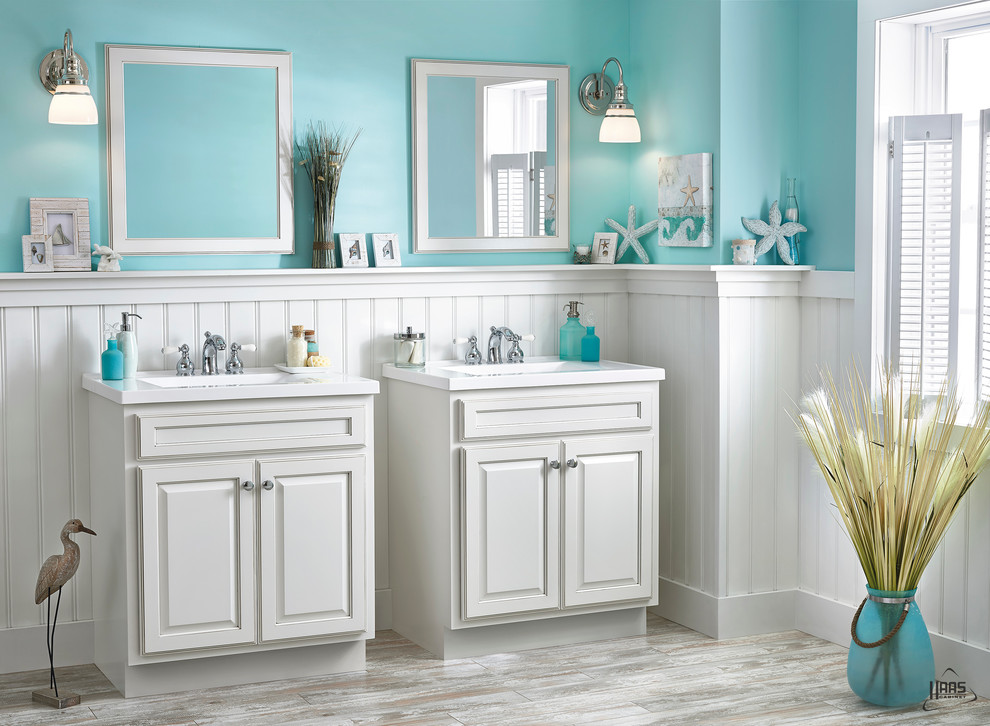 Blue & White Seaside Vanity | Haas Cabinet - Beach Style ...