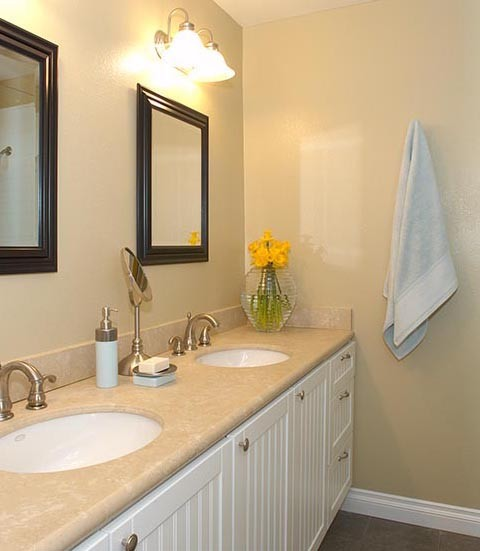 surprising modern yellow bathroom | Blue and Yellow Bathroom - Eclectic - Bathroom - los ...