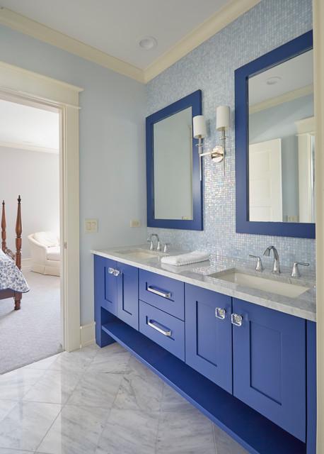 Blue Bathroom Vanity In Guest Bath Traditional