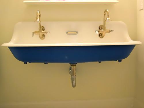 Blue Brockway Sink eclectic-bathroom
