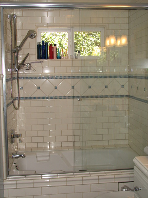 Blue Glass and White Subway Tile Teen's Tub/Shower ...