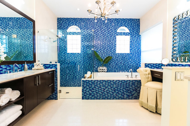 Blue Glass Spa Master Bath Contemporary Bathroom
