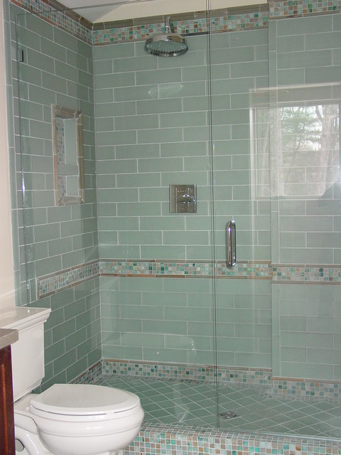 Blue glass tile shower for Glass tiles bathroom ideas