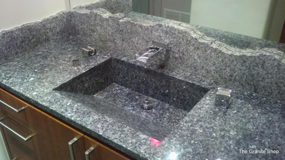 Blue Pearl Granite Vanity Built In, Granite Sink Bathroom