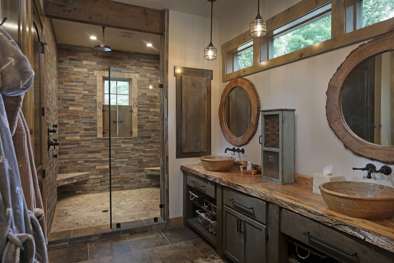 75 Beautiful Rustic Blue Bathroom Pictures Ideas February 2021 Houzz