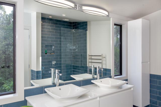 Blue Subway Tile Bathroom  Contemporary  Bathroom  auckland  by