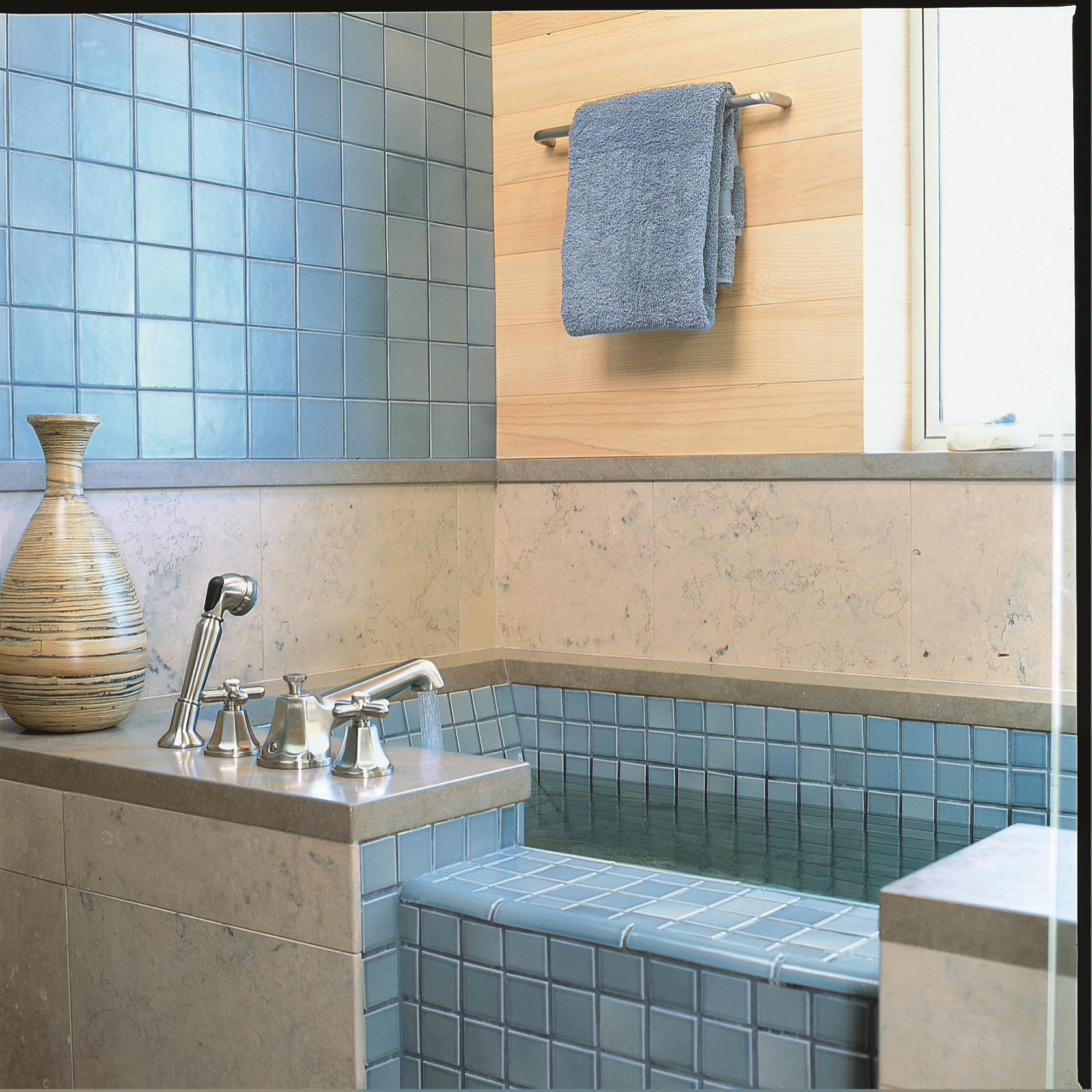 Blue tile soaking tub