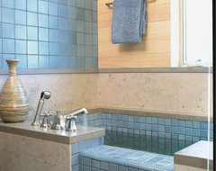 Blue tile soaking tub traditional bathroom