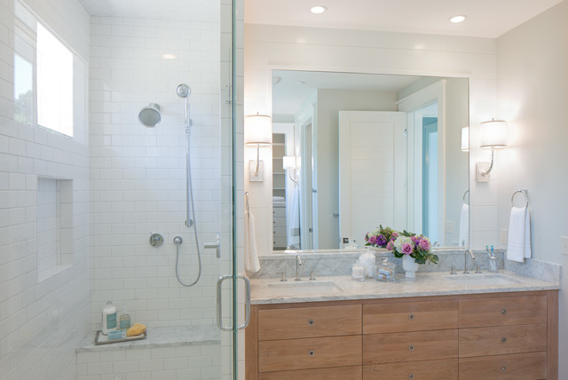 inspiration for a beach style bathroom remodel in grand rapids with marble countertops
