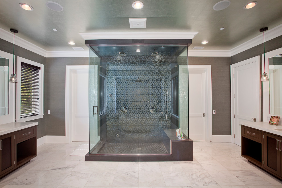 Inspiration for a contemporary double shower remodel in Los Angeles