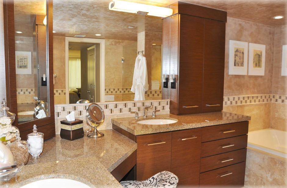 Mid-sized transitional white tile and ceramic tile bathroom photo in Miami with a drop-in sink, flat-panel cabinets, medium tone wood cabinets, granite countertops and beige walls