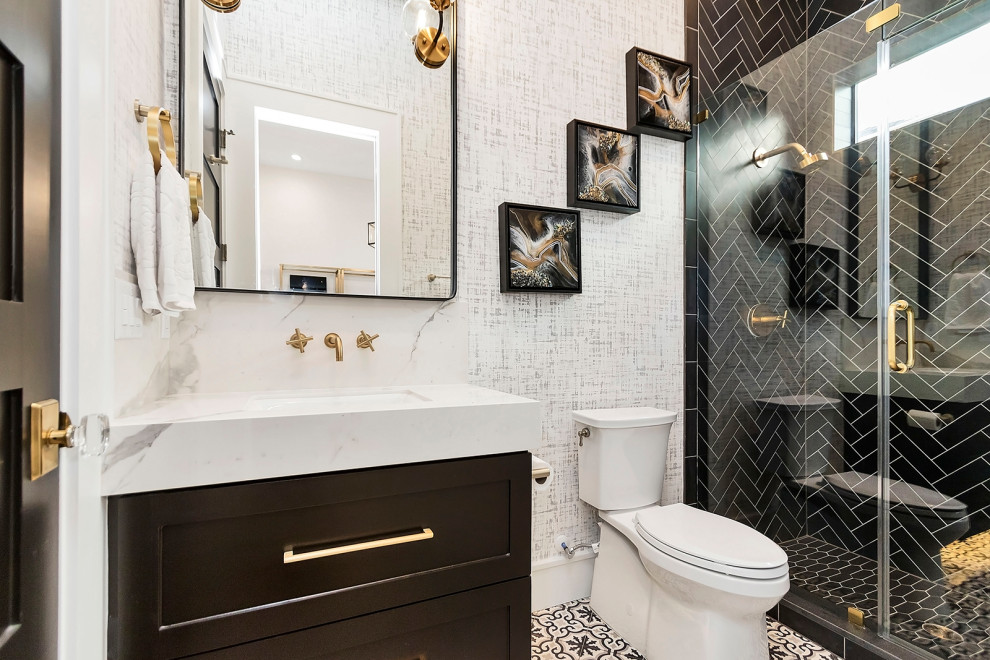Bold Gold Black Modern Home On West 10th Transitional Bathroom Houston By L B Limited Company