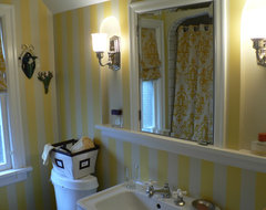 Bold patterned bath traditional bathroom