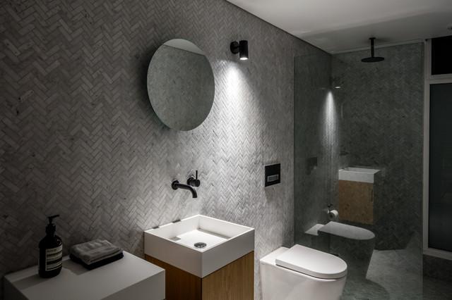 Bondi bachelor pad midcentury bathroom sydney by for Bachelor bathroom ideas