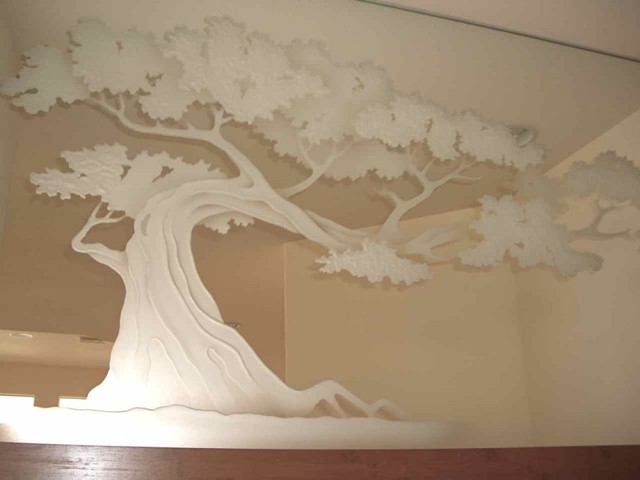 Bonsai tree decorative mirror with etched carved design for Mirror glass design