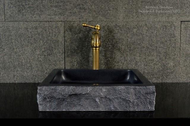 Borneo Shadow 16 X16 Black Granite Bathroom Vessel Sink Craftsman Bathroom