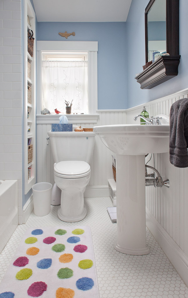 Example of a small classic kids' white tile and ceramic tile mosaic tile floor bathroom design in Boston with a pedestal sink