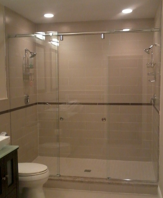 boston master bath with dual shower heads contemporary bathroom