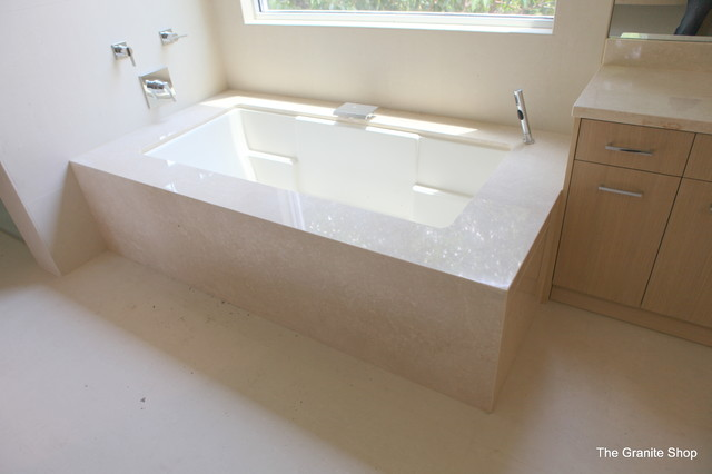 Botticino Classico Marble Tub Deck amp Skirt Contemporary
