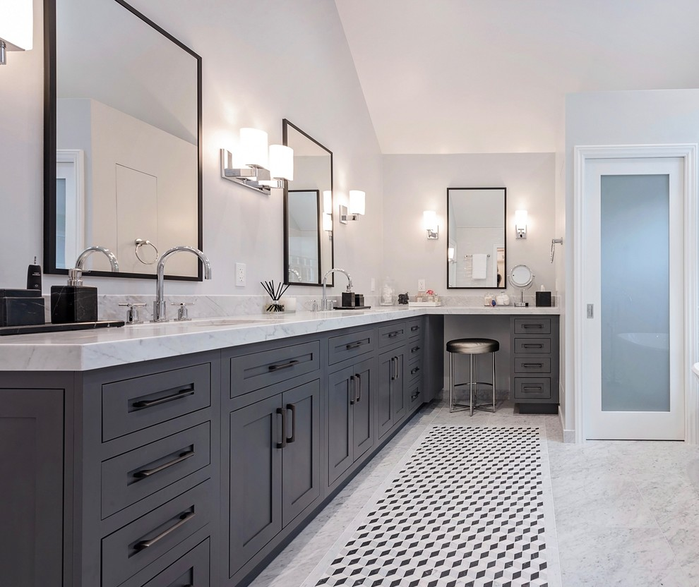 Example of a transitional master gray tile bathroom design in Los Angeles with shaker cabinets, gray cabinets, white walls, an undermount sink, white countertops and marble countertops