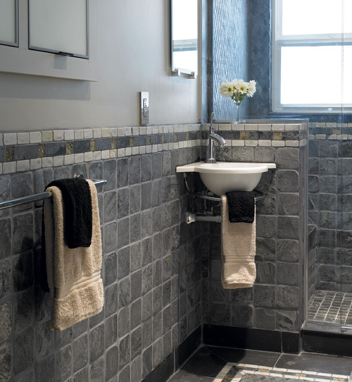 I have similar square slate tile on the floor of my small for Small square bathroom designs