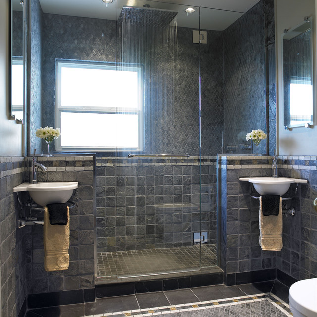 Example Of A Trendy Stone Tile Bathroom Design In Vancouver With A Wall  Mount Sink