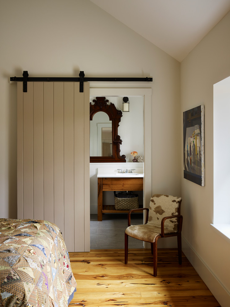 Inspiration for a farmhouse bathroom remodel in Philadelphia with an integrated sink
