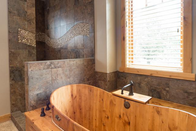 rustic bathroom showers. Brasada Ranch custom designed master bathroom wood soaking tub no door shower  rustic