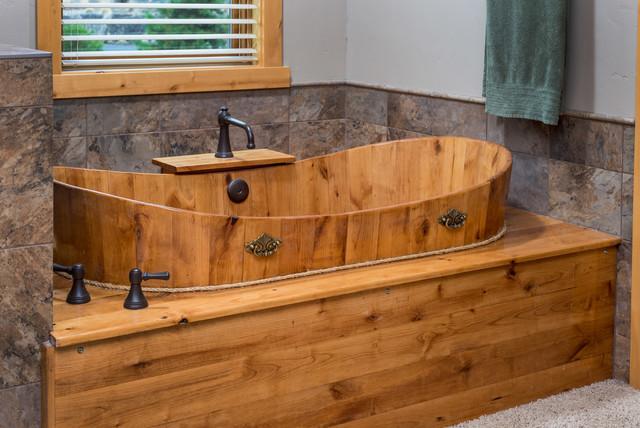 Brasada ranch custom designed master bathroom wood soaking for Ranch style bathroom ideas