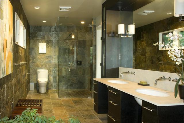 Brazilian slate bathroom contemporary bathroom for Slate tile bathroom ideas