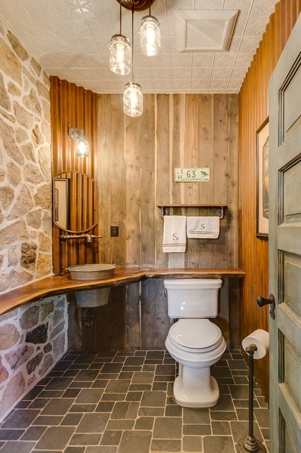 Outhouse themed powder room rustic bathroom denver for Space themed bathroom
