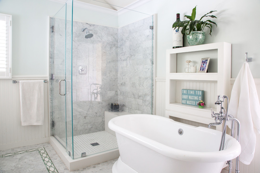Bathroom - traditional master gray tile, white tile and subway tile bathroom idea in Los Angeles with blue walls