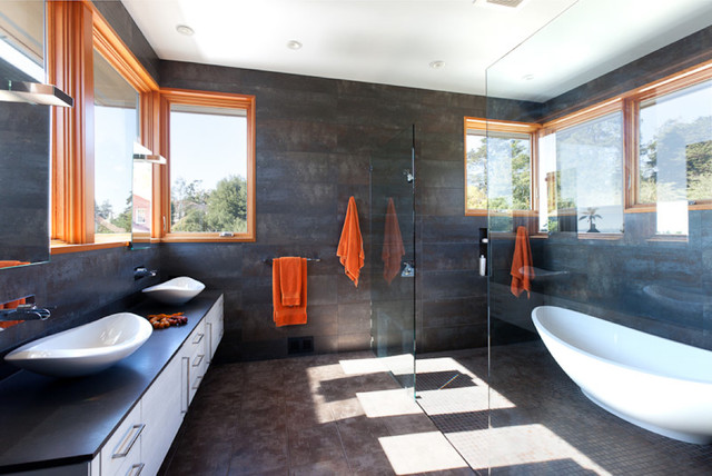 example of a trendy walkin shower design in san francisco with a vessel sink