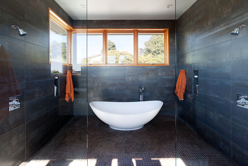 Inspiration for a large contemporary master ceramic tile and brown floor bathroom remodel in San Francisco with flat-panel cabinets, white cabinets, black walls and a vessel sink