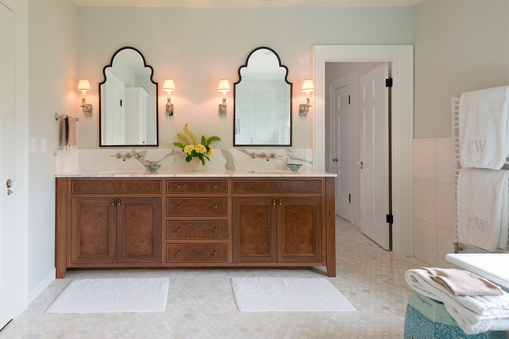 Large elegant master white tile and stone tile mosaic tile floor and white floor freestanding bathtub photo in Portland with an undermount sink, dark wood cabinets, gray walls, marble countertops and recessed-panel cabinets