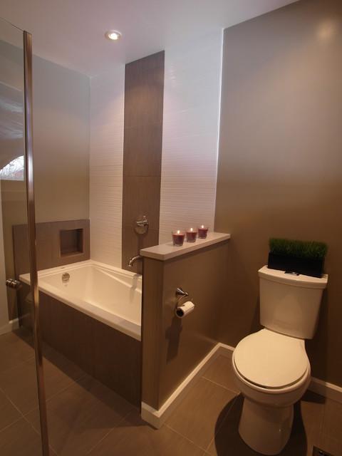 Contemporary Bathroom by 7j Design  Ottawa. Two tone tile   an Ideabook by lori lighton