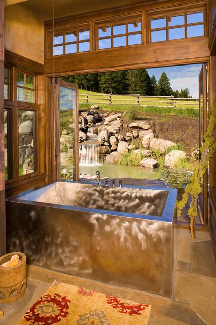 Bridger Canyon Residence rustic-bathroom