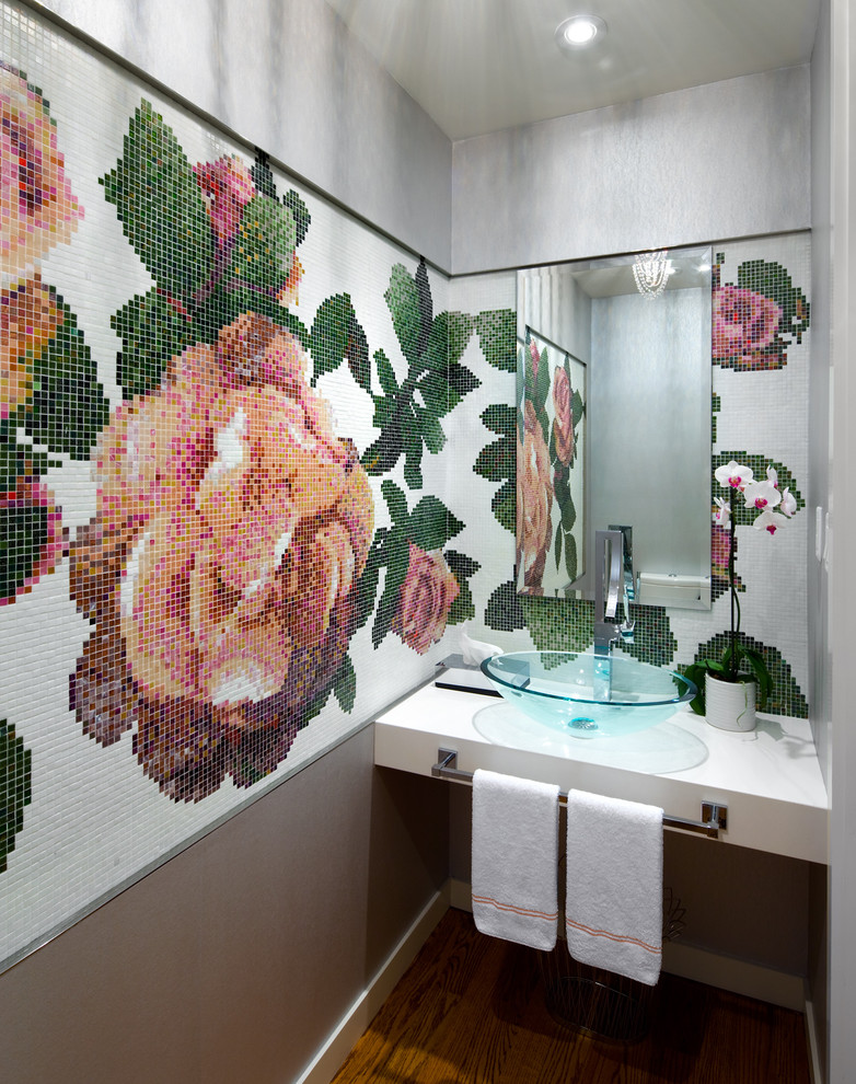 Trendy mosaic tile bathroom photo in Toronto with a vessel sink and multicolored walls
