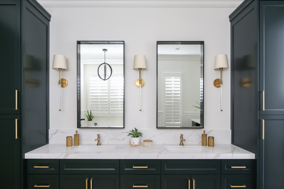 Inspiration for a bathroom remodel in Orange County with green cabinets and marble countertops