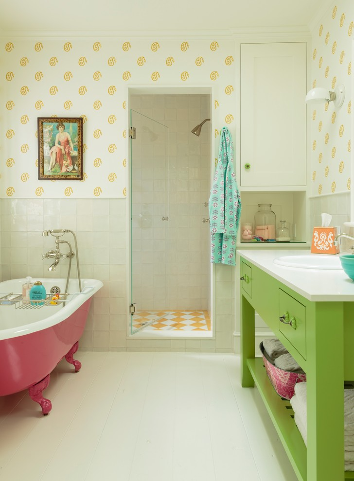 Claw-foot bathtub - mid-sized coastal kids' ceramic tile painted wood floor claw-foot bathtub idea in Los Angeles with a drop-in sink, green cabinets, quartz countertops, multicolored walls and open cabinets