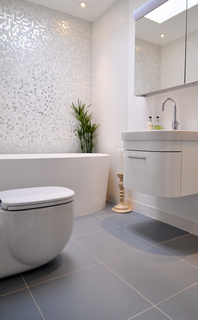 Brilliant white bathroom contemporary bathroom london by kia designs Kitchen and bathroom design courses london