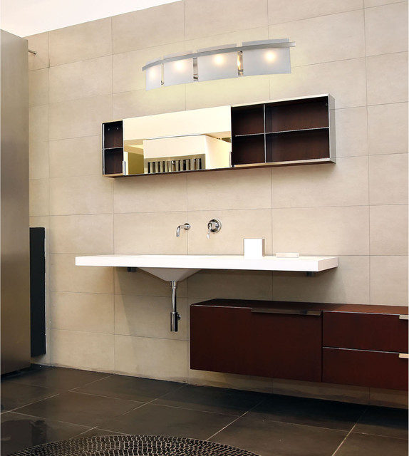 Briston Collection 4 Light 36 Satin Nickel Bathroom Vanity Fixture With Frosted Contemporary