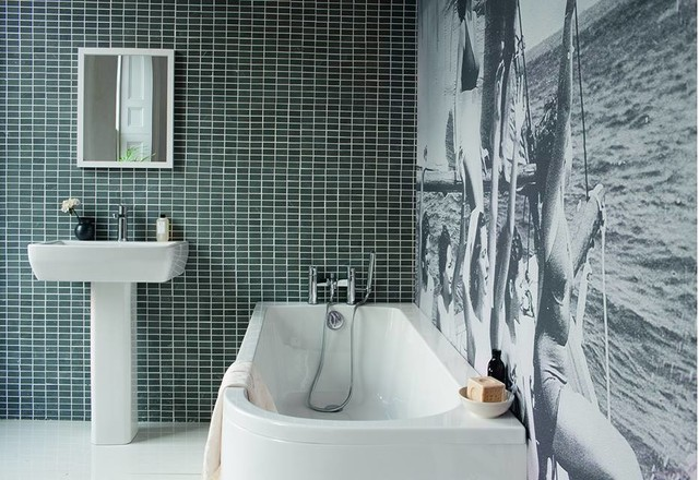Inspiration for a medium sized contemporary family bathroom in Cambridgeshire with flat-panel cabinets, white cabinets, a built-in bath, a built-in shower, a one-piece toilet, grey tiles, porcelain tiles, grey walls, marble flooring and a pedestal sink.