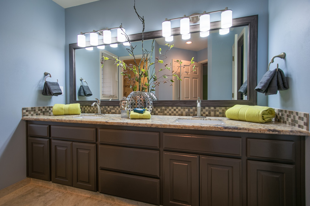Mid-sized transitional 3/4 multicolored tile and glass tile bathroom photo in Portland with raised-panel cabinets, gray cabinets, granite countertops and blue walls